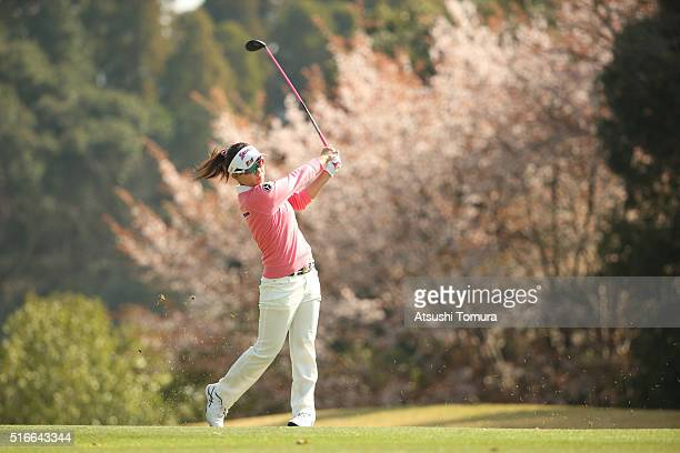 Kotono Kozuma of Japan hits her second shot on the 1st hole during the T-Point Ladies Golf Tournament at the Wakagi Golf Club on March 20, 2016 in...