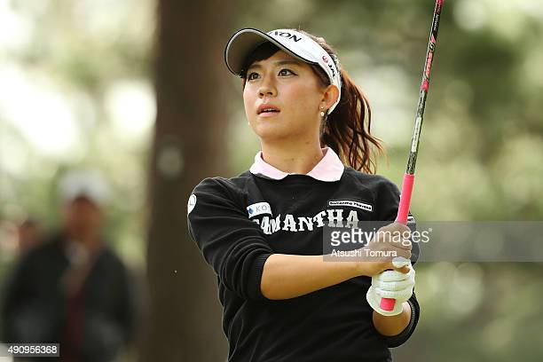 Kotono Kozuma of Japan hits her tee shot on the 10th hole during second round of Japan Women's Open 2015 at the Katayamazu Golf Culb on October 2...