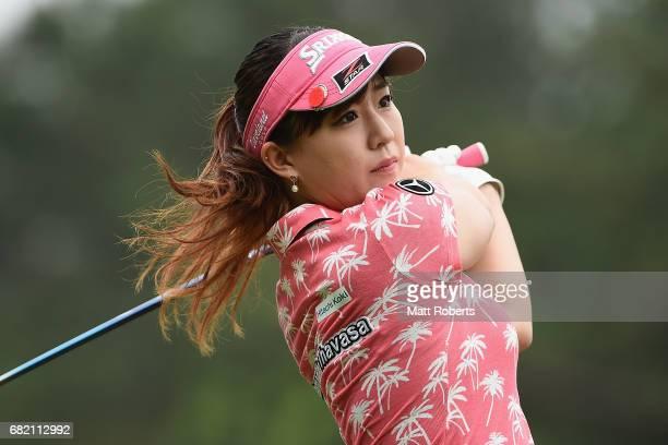 Kotono Kozuma of Japan hits her tee shot on the 10th hole during the first round of the HokennoMadoguchi Ladies at the Fukuoka Country Club Wajiro...