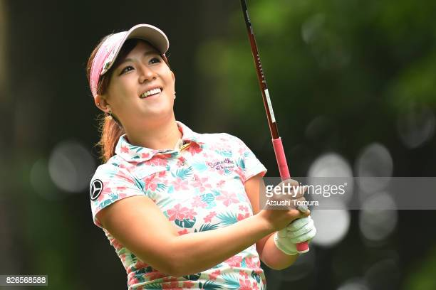 Kotono Kozuma of Japan hits her tee shot on the 2nd hole during the second round of the meiji Cup 2017 at the Sapporo Kokusai Country Club Shimamatsu...