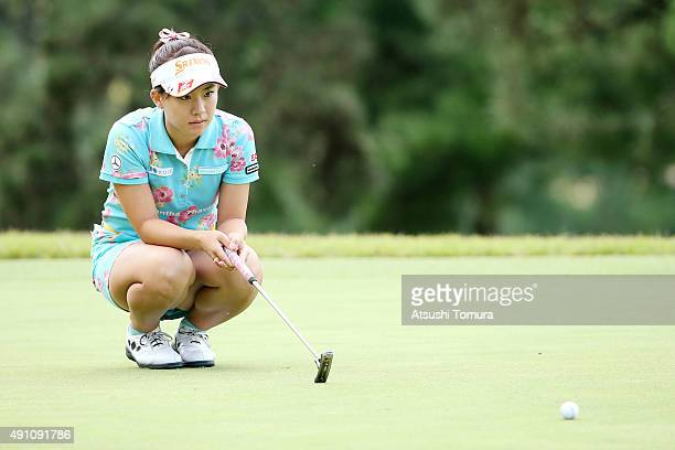 Kotono Kozuma of Japan lines up her birdie putt on the 16th green during the third round of Japan Women's Open 2015 at the Katayamazu Golf Culb on...