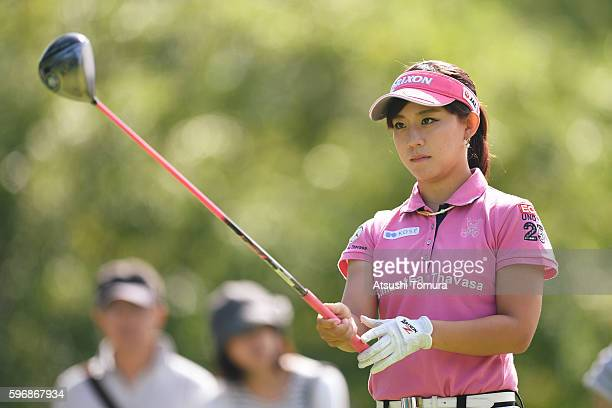 Kotono Kozuma of Japan lines up her tee shot on the 18th hole during the final round of the Nitori Ladies 2016 at the Otaru Country Club on August 28...