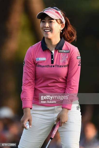 Kotono Kozuma of Japan reacts on the 18th green during the second round of the World Ladies Championship Salonpas Cup at the Ibaraki Golf Club on May...