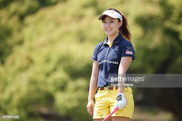 Kotono Kozuma of Japan smiles during the first round of Fujisankei Ladies Classic at the Kawana Hotel Golf Course Fuji Course on April 24 2015 in Ito...