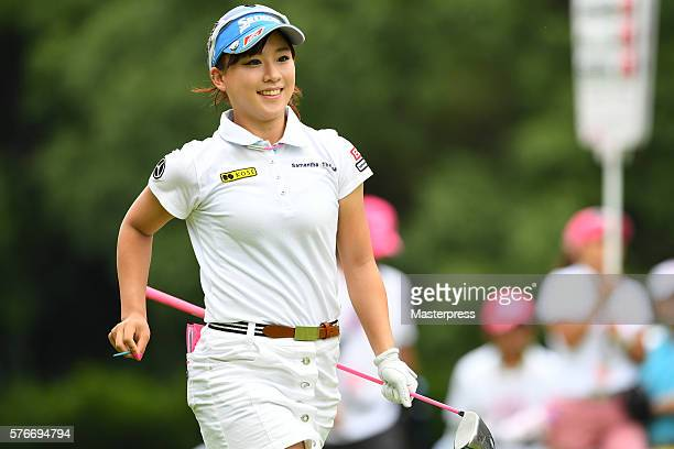Kotono Kozuma of Japan smiles during the third round of the Samantha Thavasa Girls Collection Ladies Tournament 2016 at the Eagle Point Golf Club on...