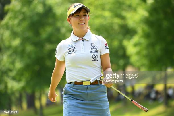 Kotono Kozuma of Japan smiles during the third round of the Suntory Ladies Open at the Rokko Kokusai Golf Club on June 10 2017 in Kobe Japan