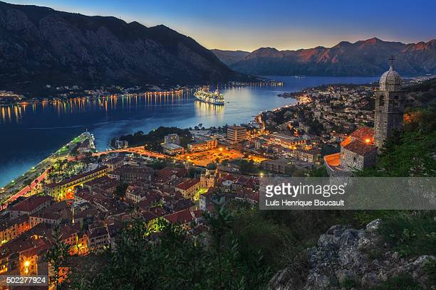 kotor bay and sunset - montenegro bildbanksfoton och bilder