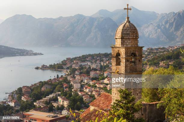 kotor cityscape and church of our lady of remedy - montenegro imagens e fotografias de stock