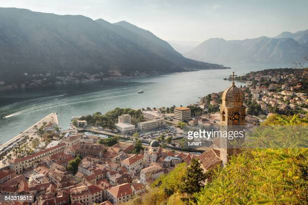kotor cityscape and church of our lady of remedy - adriatic sea stock pictures, royalty-free photos & images