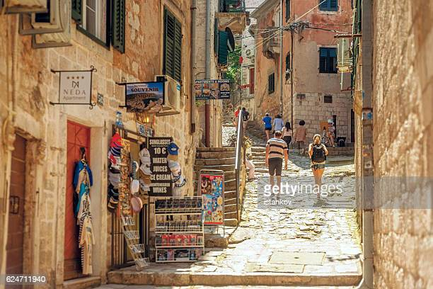 kotor, entrance to saint giovani castle - kotor bay stock pictures, royalty-free photos & images