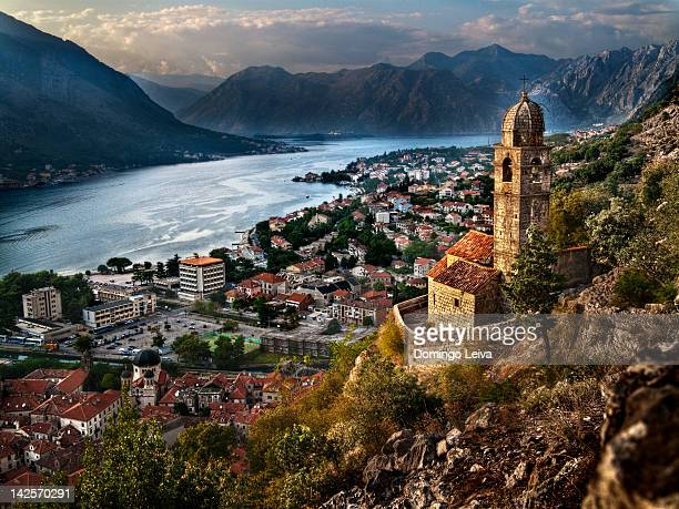 kotor fjord - kotor bay stock pictures, royalty-free photos & images