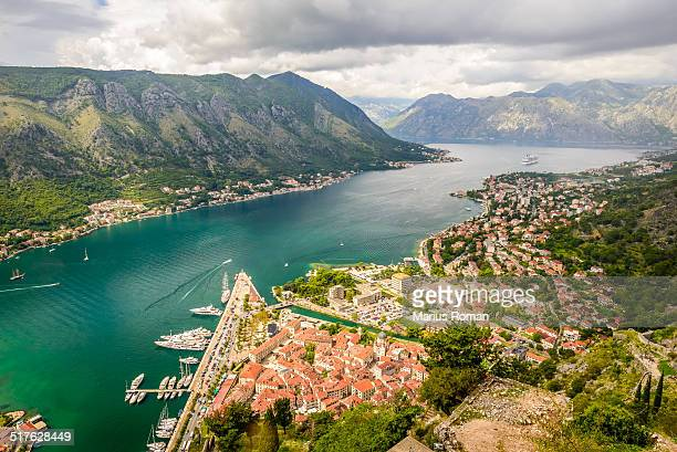Kotor old town and Boka Kotorska bay, Montenegro.
