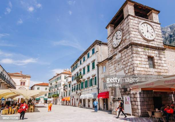 kotor old town and clock tower - dafos stock photos and pictures