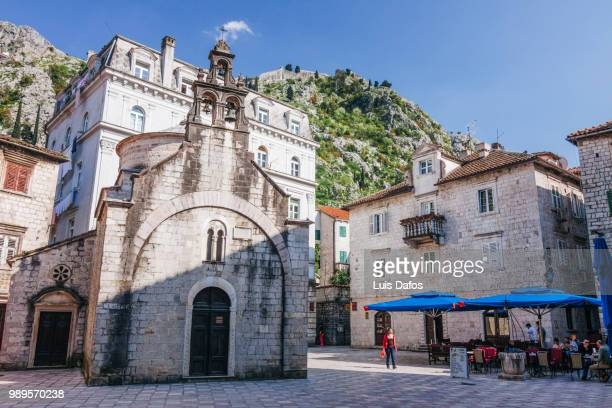 kotor old town and sveti luka church - dafos stock photos and pictures