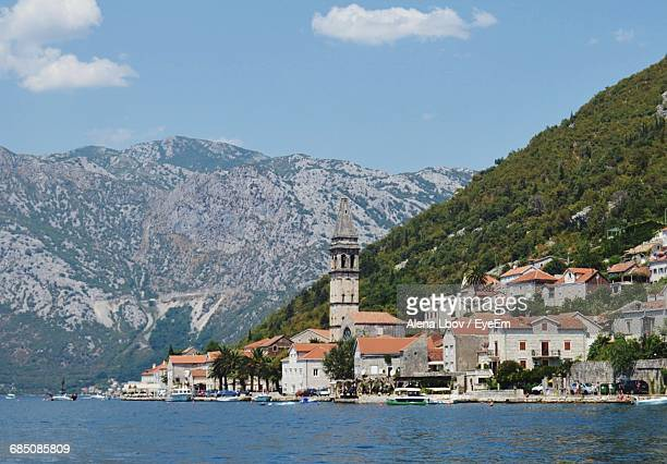 Kotor Town By Sea Against Mountains