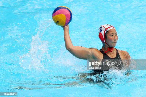 Kotori Suzuki of Japan in action against Italy their Women's Water Polo Preliminary match on day four of the Gwangju 2019 FINA World Championships at...