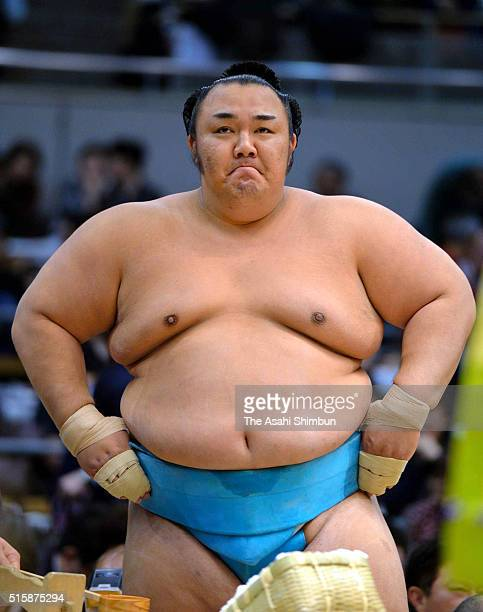 Kotoyuki is seen after beating Mongolian yokozuna Harumafuji during day three of the Grand Sumo Spring Tournament at the Edion Arena Osaka on March...