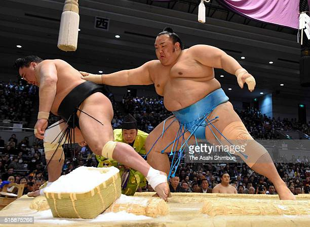 Kotoyuki pushes Mongolian yokozuna Harumafuji out of the ring to win during day three of the Grand Sumo Spring Tournament at the Edion Arena Osaka on...