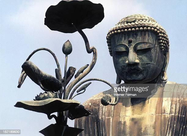 Kotukuin Amida Butsu the Great Buddha Detail of the headThe giant bronze statue was created under the patronage of samurai Yoritomo Japan Japanese...