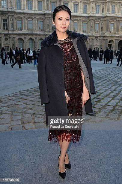 Kou Shibasaki arrives at the Louis Vuitton show as part of the Paris Fashion Week Womenswear Fall/Winter 20142015 on March 5 2014 in Paris France