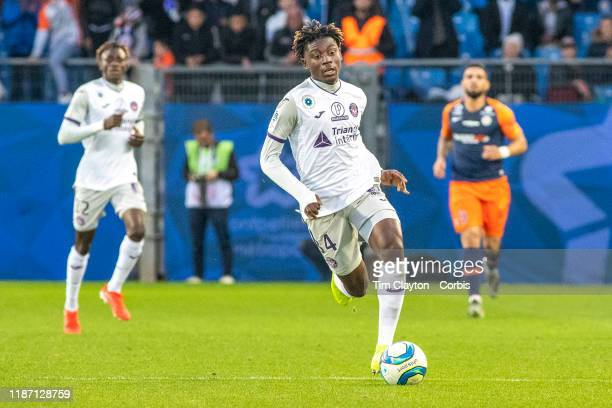 November 10: Kouadio Kone of Toulouse in action during the Montpellier Vs Toulouse, French Ligue 1 regular season match at Stade de la Mosson on...