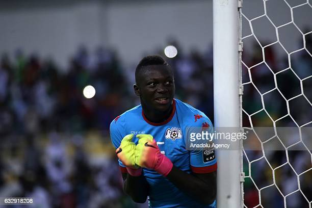 Kouakou Koffi of Burkina Faso celebrates after his teammate Prejuce Nakoulma scores a goal during the 2017 Africa Cup of Nations quarterfinal...