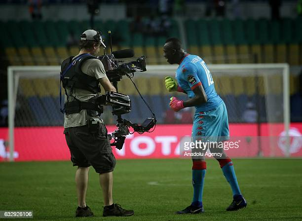 Kouakou Koffi of Burkina Faso celebrates after the 2017 Africa Cup of Nations quarterfinal football match between Burkina Faso and Tunisia at the...