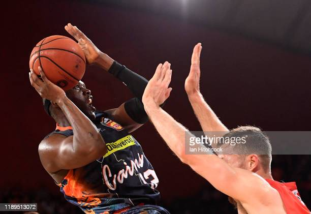 Kouat Noi of the Taipans drives to the basket during the round 8 NBL match between the Cairns Taipans and the Perth Wildcats at the Cairns Convention...