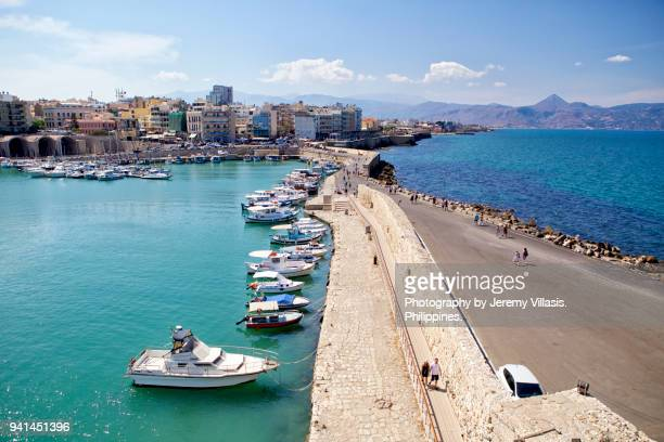 koules fortress in the venetian harbor, heraklion, crete - herakleion stock photos and pictures