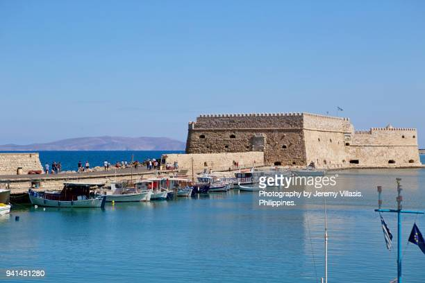 koules fortress in the venetian harbor of heraklion, crete - herakleion stock photos and pictures