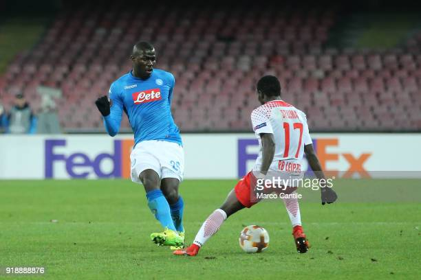 Koulibaly and Bruma in action during football match between Napoli Lipsia Napoli lost the match 13 to Lipsia