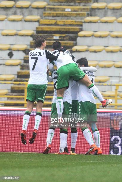 Kouma Babacar of US Sassuolo celebrates after scoring a goal during the serie A match between Bologna FC and US Sassuolo at Stadio Renato Dall'Ara on...