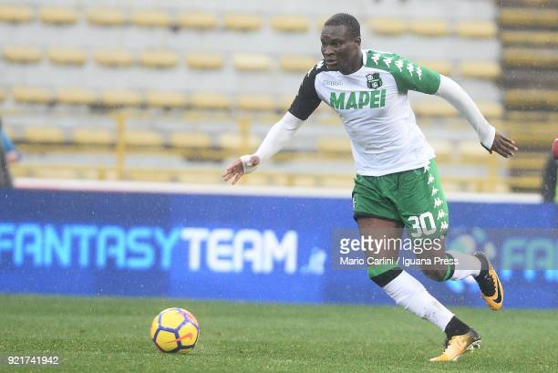 Kouma Babacar of US Sassuolo in action during the serie A match between Bologna FC and US Sassuolo at Stadio Renato Dall'Ara on February 18 2018 in...