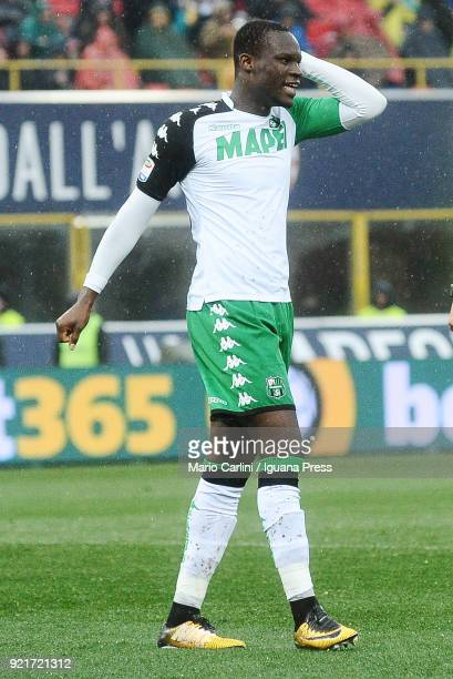 Kouma Babacar of US Sassuolo reacts during the serie A match between Bologna FC and US Sassuolo at Stadio Renato Dall'Ara on February 18 2018 in...