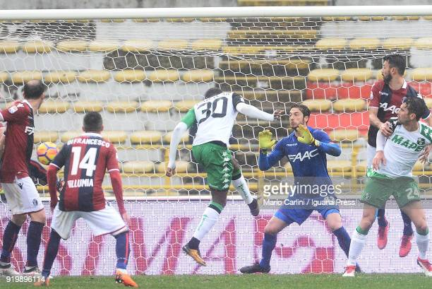 Kouma Babacar of US Sassuolo scores a goal during the serie A match between Bologna FC and US Sassuolo at Stadio Renato Dall'Ara on February 18 2018...
