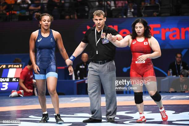 Koumba Larroque and Sara Dosho 69kg during the female wrestling competition during the Paris 2017 Women's World Championships at AccorHotels Arena on...