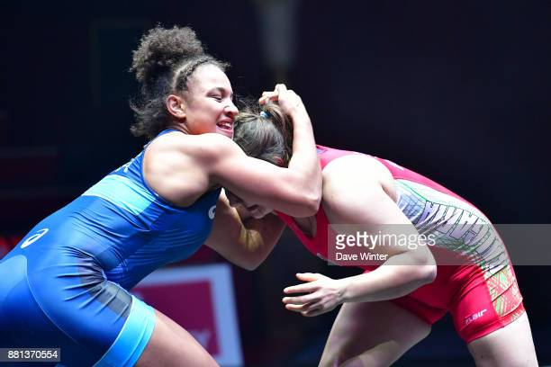 Koumba Larroque of France and Viktoria Bobeva of Bulgaria during the International wrestling test match between France and Bulgaria at Le Cirque...