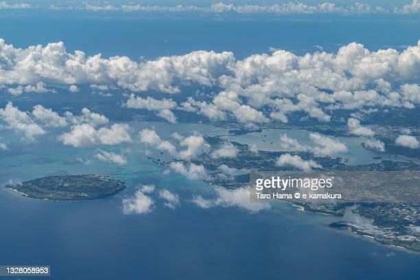 kouri island in okinawa of japan aerial view from airplane - coral sea stock pictures, royalty-free photos & images