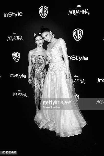 Kourntey Kardashian and Kylie Jenner arrive at the 2016 InStyle And Warner Bros 73rd Annual Golden Globe Awards PostParty Arrivals at The Beverly...