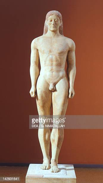 Kouros 525550 BC sculpture of the archaic age from Anavissos Greek Civilization 6th Century BC Athens Ethnikó Arheologikó Moussío