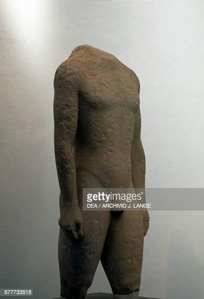 Kouros 550530 BC stone statue from Kameiros Rhodes Rhodes island Greece Greek civilisation 6th century BC RHODES ARHEOLOGIKÓ MOUSSÍo