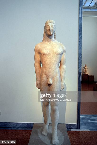 Kouros 590570 BC statue from Thera Greece Greek civilisation 6th century BC Athens Ethnikó Arheologikó Moussío