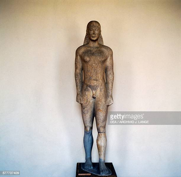 Kouros ca 550 BC Archaic Greek sculpture from Ptoan sanctuary Greece Greek civilisation 6th century Detail Athens Ethnikó Arheologikó Moussío