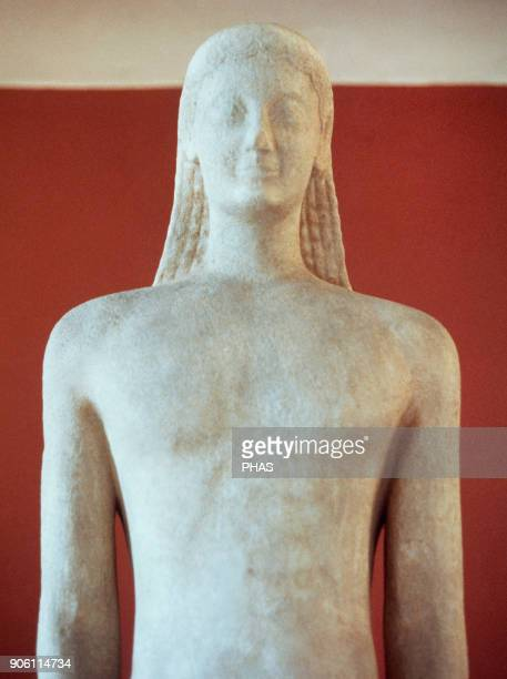 Kouros of Melos Archaic Period 540 BC Frontal detail Archaeological Museum Athens Greece