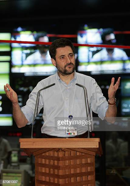 Head of Spanish SPAINSAT Company Miguel Angel Garcia Primo speaks after the launch of Ariane 5 ECA from the European Space Station in Kourou French...