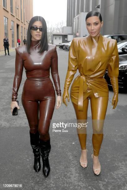Kourtney and Kim Kardashian attend the Balenciaga show as part of the Paris Fashion Week Womenswear Fall/Winter 2020/2021 on March 01, 2020 in Paris,...