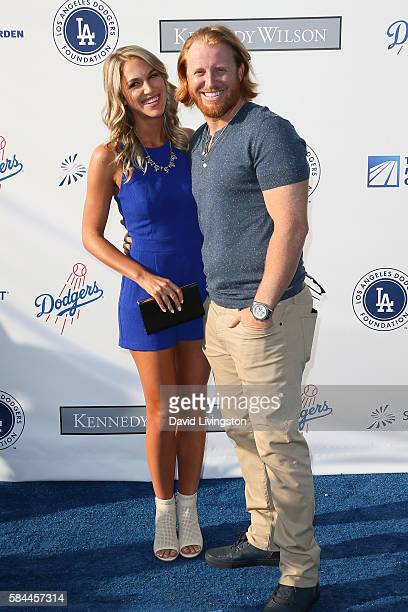 Kourtney Elizabeth and baseball third baseman Justin Turner arrive at the Los Angeles Dodgers Foundation Blue Diamond Gala at the Dodger Stadium on...