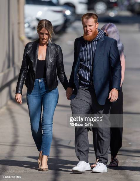 Kourtney Elizabeth and Justin Turner are seen at 'Jimmy Kimmel Live' on March 27 2019 in Los Angeles California