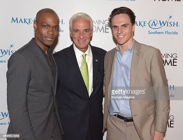 Kourtney Eugene Brown Charlie Crist and Alex Horist attend Coming Home and MakeAWish Southern Florida Celebrate Miami Art Design Week at Coming Home...