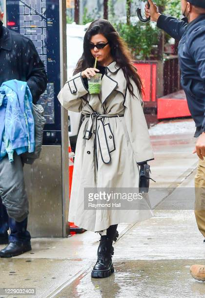 Kourtney Kardashian and Addison Rae are seen in NoHo on October 12, 2020 in New York City.